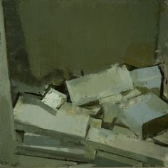 stacks study 1, oil on panel, 12 x 12 in, 2009 (private collection)