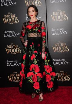 2014 - Emily Blunt In Dolce & Gabbana Spring 2015 – 'Into The Woods' World Premiere Into The Woods, Emily Blunt, Dolce & Gabbana, Long Sleeve Gown, Fashion Design Sketches, Western Outfits, Red Carpet Looks, Red Carpet Fashion, Star Fashion