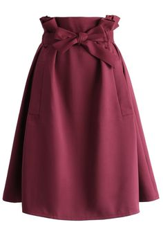 Sassy Tie-bow Midi Skirt in Burgundy - New Arrivals - Retro, Indie and Unique Fashion