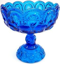 Colonial Blue Moon and Star Flared & Scalloped Compote. Antique Dishes, Antique Glassware, Vintage Dishes, Cobalt Glass, Cobalt Blue, Lancaster, Vaseline Glass, Fenton Glass, Carnival Glass