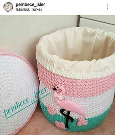 Crochet Flamingo, Flamingo Pattern, Crochet Box, Knit Crochet, Crochet Motif Patterns, Wool Thread, Moses Basket, Crochet Home Decor, Furniture Restoration
