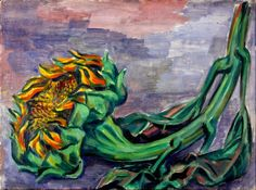 Carl Rabus Stillleben Sonnenblume, 1930er Jahre, Öl auf Leinwand