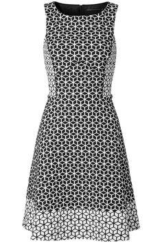 A-lijn jurk met grafische print Zwart