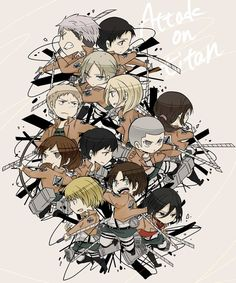 Attack On Titan jean and mikasa | ... (14) Gallery Images For Captain Levi Attack On Titan Chibi