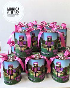 Latinhas personalizadas tema Minecraft Rosa