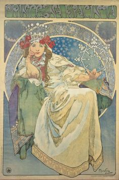 Princess Hyacinth by Alphonse Mucha. Fairytale of a blacksmith's dream. Do you see the blacksmith tools in the poster?   Mucha Museum