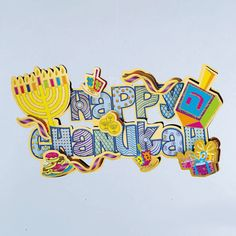 3D Happy Chanukah Decoration with Glitter Accents. Save $3