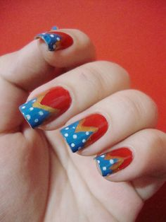 Wonder Woman Nails that don't look impossible! :D