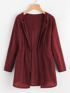 Sweaters by BORNTOWEAR. Drawstring Waist Hooded Cardigan