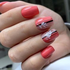 Floral nail patterns to encourage you (web page What will we find out about nail polish? Nail polish and nail polish are used to make nails lovely, engaging, significant and … Types de Clou Fancy Nails, Cute Nails, Pretty Nails, Orange Nail Designs, Fall Nail Art Designs, Orange Nails, Red Nails, Nail Polish, Nail Nail