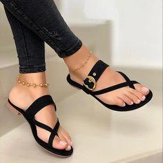 Cute Shoes Flats, Shoes Flats Sandals, Strap Sandals, Me Too Shoes, Sandal Heels, Flat Sandals, Flip Flop Sandals, Flip Flops, Pretty Sandals