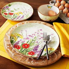 SpringBotanical Garden Dinnerware with yellow accents