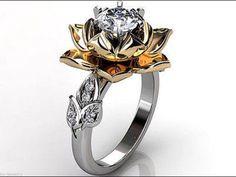Lotus Flower Engagement Ring - Rose and White Gold Diamond Unique Lotus Flower Engagement Ring, Lotus Flower Wedding Ring Jewelry Rings, Unique Jewelry, Jewelery, Jewelry Accessories, Diamond Jewelry, Jewelry Watches, Lotus Flower Engagement Ring, Engagement Rings, Wedding Engagement