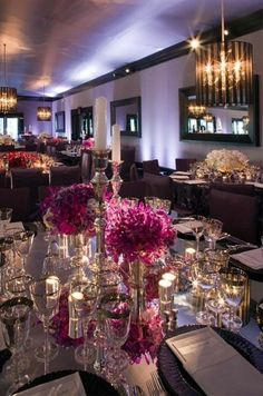 mirrored table - purple floral - candle light