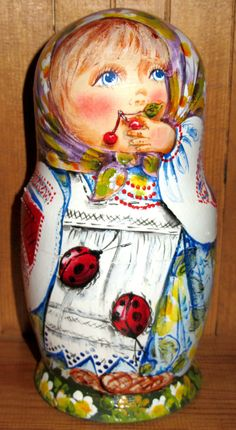 Russian HAND PAINTED stacking dolls 5 Children GIRLS RETIRED NINA UNIQUE GIFT in Jouets et jeux, Poupées, vêtements, access., Poupées russes | eBay