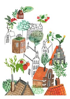 Illustration by Bodil Jane for Amsterdam&Co Magazine. Canal houses.