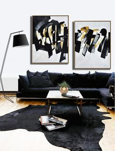 CZ ART DESIGN - Set of 2 Contemporary Painting on canvas #S167, original fine art, pair painting.