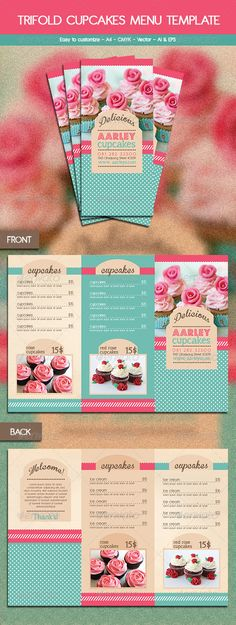 Trifold Cupcakes Menu Template to market your cake business Menu Restaurant, Bakery Menu, Restaurant Menu Template, Restaurant Identity, Web Design, Food Design, Flyer Design, Design Folder, Brochure Design