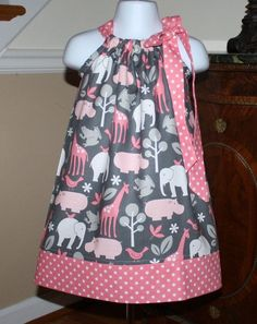 Pillowcase Dress toddler dresses michael miller zoo pink girls baby by blakeandbailey Pillowcase Dress toddler Easter dresses michael by BlakeandBailey - I just like the pattern of fabric, Izzy would too Economical & cool and trendy toddler dresses. Toddler Outfits, Baby Outfits, Kids Outfits, Little Dresses, Little Girl Dresses, Baby Dresses, Long Dresses, Pillowcase Dress Pattern, Pillowcase Dresses