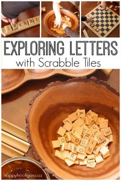 Exploring letters with Scrabble tiles - There's tons of fun to be had when you use Scrabble tiles for learning! Check out these early reading activities for toddlers and preschoolers. Happy Hooligans.