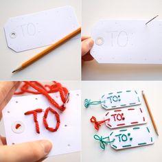 one sheepish girl: 12 Sheepish Days - Day 10 & 11 Yarn Embellished Gift Tags Two Ways