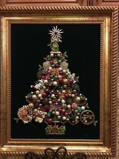 christmas tree old and new jewelry. By Beth Turchi Jeweled Christmas Trees, Christmas Tree Art, Christmas Jewelry, Christmas Decorations, Christmas Ornaments, Vintage Christmas, Xmas Trees, Jewelry Frames, Jewelry Wall