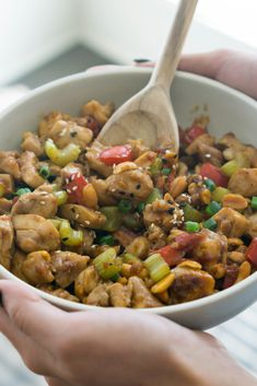 This Low Carb Kung Pao Chicken is filled with tender meat, crunchy veggies and thick, savory sauce that will make you forget about your favorite Chinese take-out!