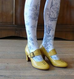 Rococo - Toile de Jouy Print Tights & Yellow Shoes <3