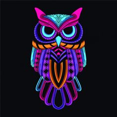 Decorative owl in glow neon color Premium Vector Neon Painting, Acrylic Painting Canvas, Canvas Art, Bulldog Tattoo, Owl Artwork, Psychadelic Art, Elephant Quilt, Neon Wallpaper, Felt Owls