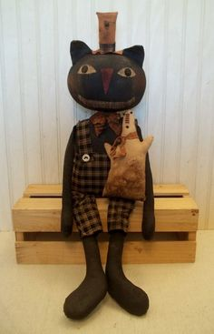 Primitive Grungy Smiling Halloween Kitty Cat Doll & His Spooky Ghost #NaivePrimitive