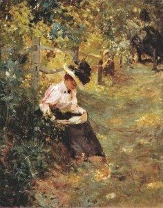 Theodore Robinson, (American Impressionist painter 1852-1895) Reading in the Lane c 1893