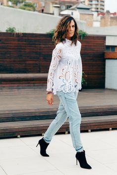 Tash Sefton // TheyAllHateUs // Lace inlet blouse and Drop crutch jean, slouchy but fitted at the bottom of your leg