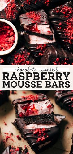 These easy no bake raspberry mousse bars are made with a quick cream cheese raspberry mousse, oreo crust, and dunked in rich @DolciDelicious chocolate #ad. They're the perfect treat to make for your valentine! #mousse #raspberry #chocolateraspberry #chocolate #butternutbakery | butterrnutbakeryblog.com Easy No Bake Desserts, Easy Baking Recipes, Fun Easy Recipes, Just Desserts, Dessert Recipes, Bar Recipes, Recipies, Homemade Chocolate Pudding, Chocolate Desserts