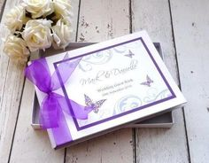 classic frame personalised wedding guest book elegant butterfly