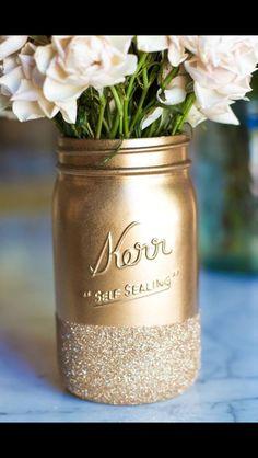 Mason Jar Centerpiece blue with silver glitter