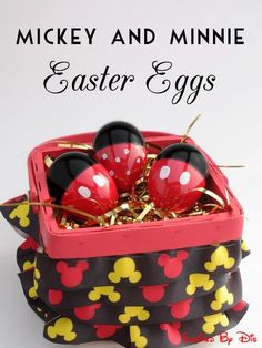 """Mickey and Minnie Easter Eggs (would be cute with pom pom """"ears"""" too) // Inspired By Dis"""