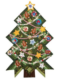 Pinetree Puzzle Wall Hanging & Table Runner Pattern or Ruler