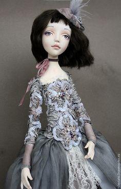 Коллекционные куклы ручной работы. Ярмарка Мастеров - ручная работа. Купить Элиз. Handmade. Серый, шляпка