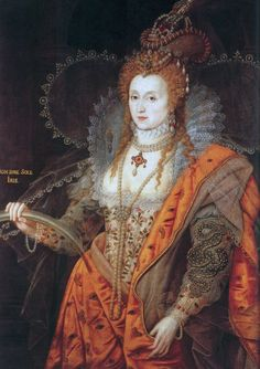 "Elizabeth I: The Rainbow Portrait. Painted ca. 1600 when she was in her 60's and is attributed to Isaac Oliver. The most symbolic painting of the Queen, the ageless Elizabeth appears dressed as if for a masque… wearing symbols out of the popular emblem books: the cloak with eyes and ears, the serpent of wisdom, the celestial armillary sphere, and carries a rainbow with the motto non sine sol iris (""no rainbow without the sun"")."