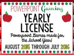 Here's a yearly subscription to my games! By purchasing this yearly subscription, you gain access to any new game I create for the 2015 - 2016 school year. Simply purchase, fill out your information, and  you'll receive a folder containing any new games I plan to create this year (August 2015 - July 2016). This includes any holiday games I create for the current school year (example: Christmas Advent Event which guarantees at least 25 games). All for one simple price of $25.