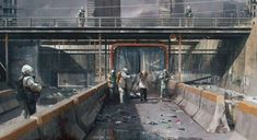 Concept art of a quarantine zone for The Last of Us