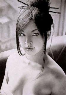Beautiful Asian girl drawing by artist Ken Lee Sada