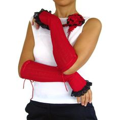 Crimson red arm warmers  navy blue lace frill by mammamiaeme, $30.00