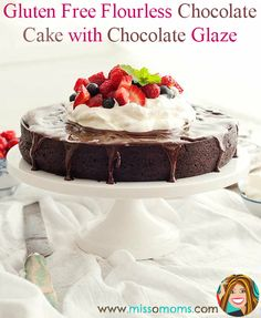 This luscious, fudge flourless chocolate cake is a gluten free delight -- a little goes a long way! You won't be disappointed and you definitely won't miss the flour!  http://www.missomoms.com/gluten-free-chocolate-cake/