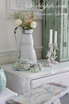 Shabbyfufu: My Dining Room....Aqua or Turquoise Accents For Spring