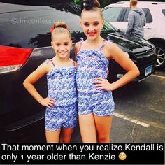Kendall is so tall XD--------I believe the gap here is not 1 Dance Moms Memes, Dance Moms Comics, Dance Moms Funny, Dance Moms Facts, Dance Moms Dancers, Dance Mums, Dance Moms Girls, Mackenzie Ziegler, Maddie And Mackenzie