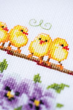Embroidery  Cross Stitch  Handicraft  Vervaco  table cloth  chickens  flowers  violets