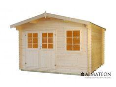 Chalet en sapin, de 12.25 m². Modèle : WW-61. Dimensions : 350 x 350 x 245 cm.