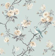 Chinoiserie-Voegel-Baeume-Blumen-Blueten-Tuerkis-Creme-Tapete