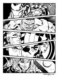 Avengers by Chris Samnee Comic Art Avengers Drawings, Avengers Art, Marvel Art, Avengers Tattoo, Funny Avengers, Comic Book Pages, Comic Books Art, Comic Art, Comic Book Display